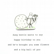 """dung beetle wants to say..."" - happy birthday - handmade birthday card"