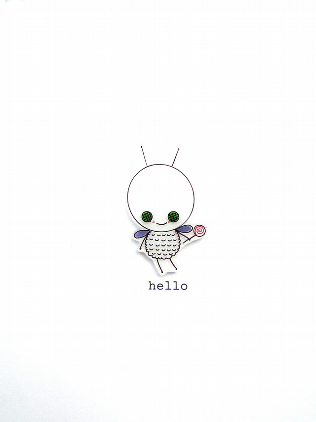hello - jeff the fly - handmade card