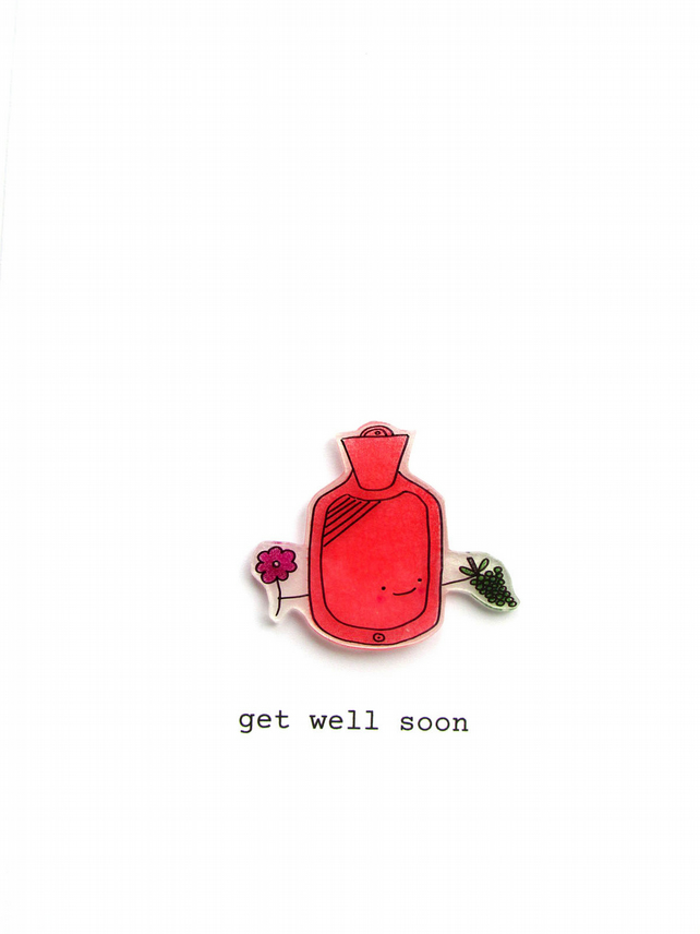 get well soon card  -  george the pink hot water bottle