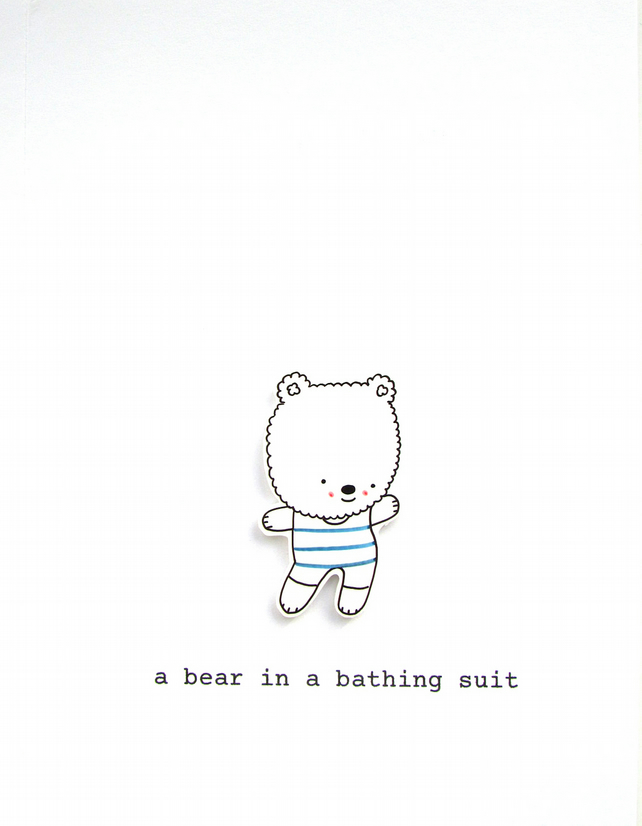 card - a bear in a bathing suit