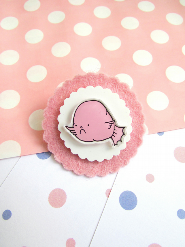 brooch - grumpy blobfish - hand painted brooch pin