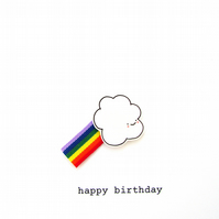 birthday card  -  cloud and rainbow