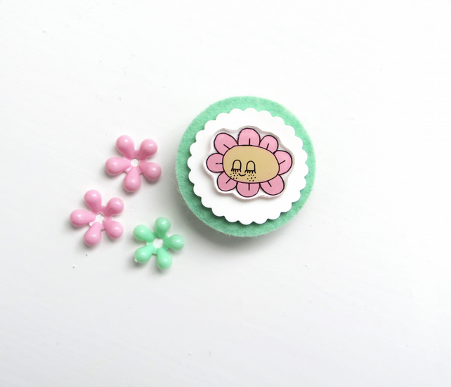 brooch - flower -  hand painted pin brooch