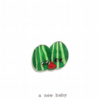 a new baby - watermelon family -  handmade new baby card