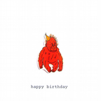 birthday card - orangutan