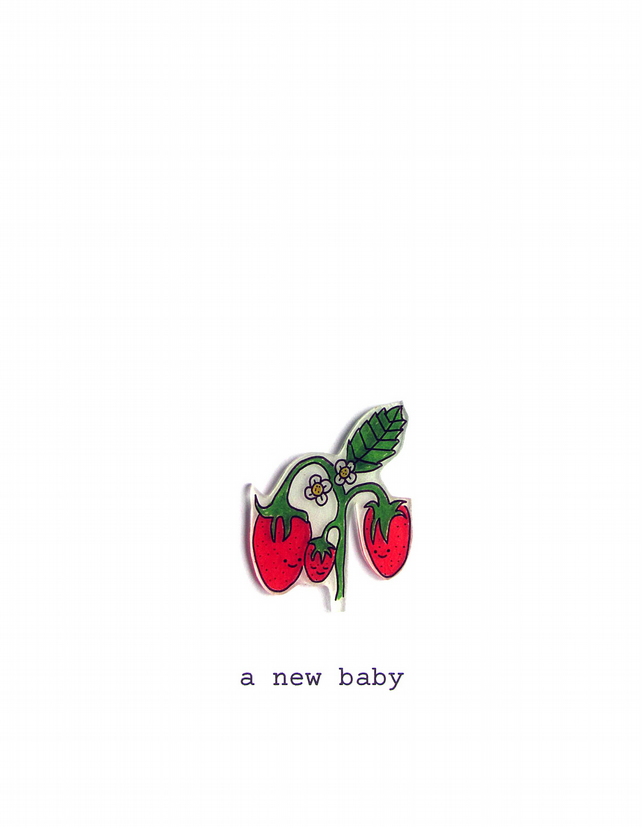 new baby card - strawberry family