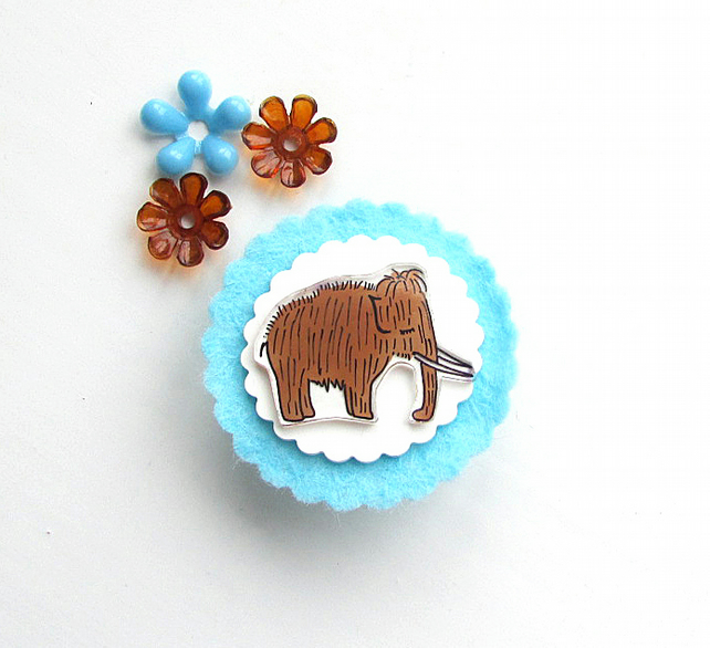 brooch  - gordon the mini mammoth - hand painted brooch pin