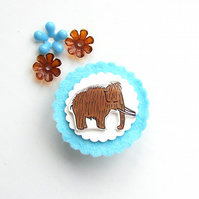 brooch  - gordon the mini mammoth - hand painted