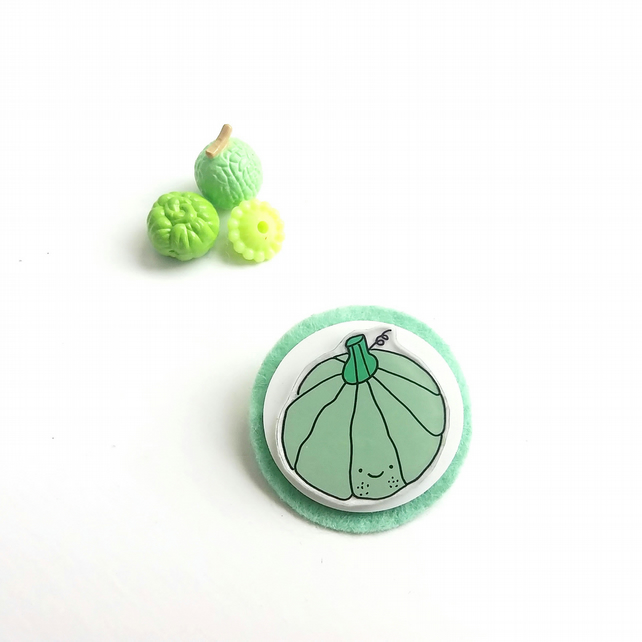 brooch  - gourd - hand painted