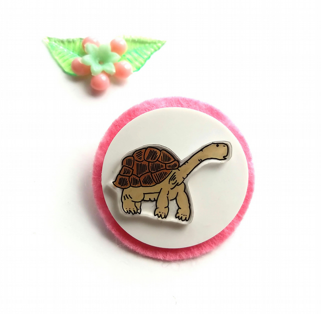 brooch  - lonesome george the tortoise - hand painted brooch pin