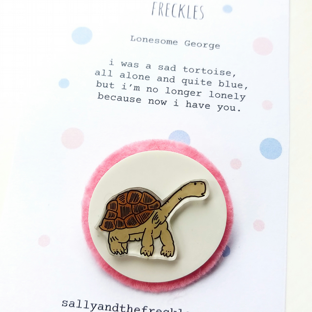 brooch  - lonesome george - hand painted