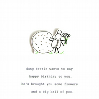 birthday card- dung beetle's gift