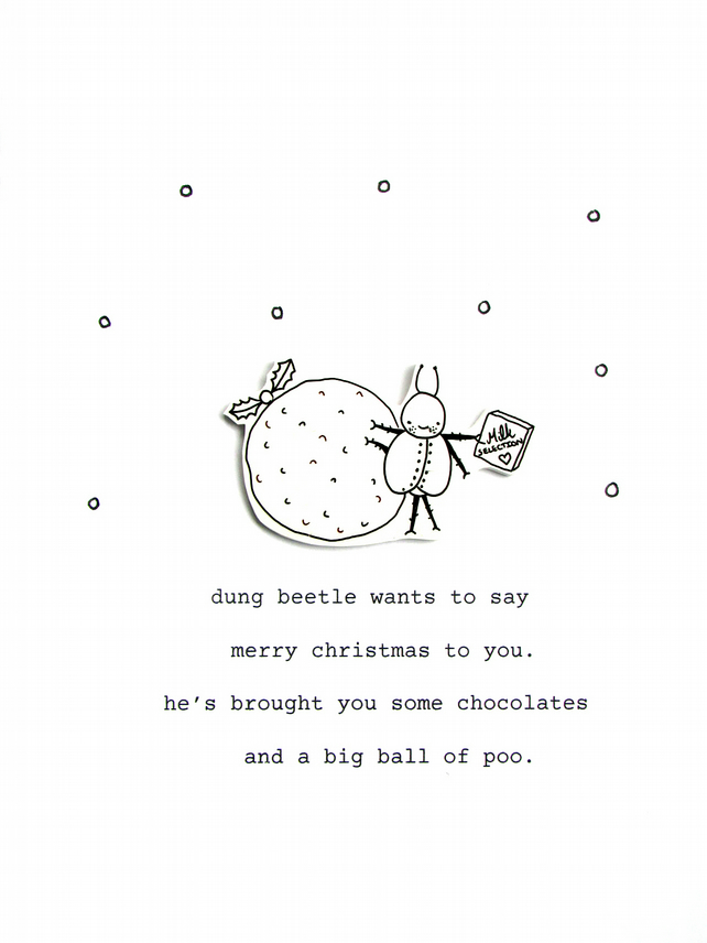 christmas card - dung beetle's christmas gift