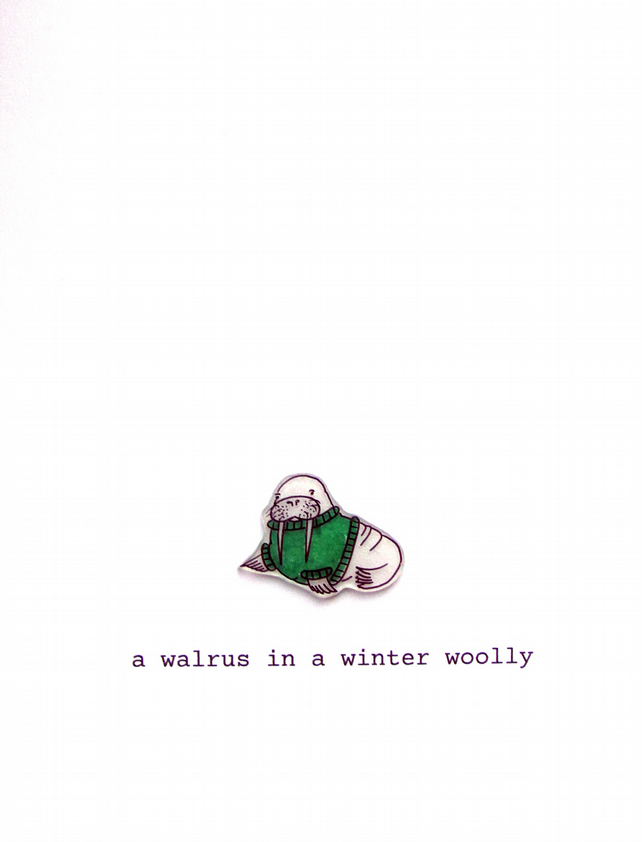 card - a walrus in a winter woolly