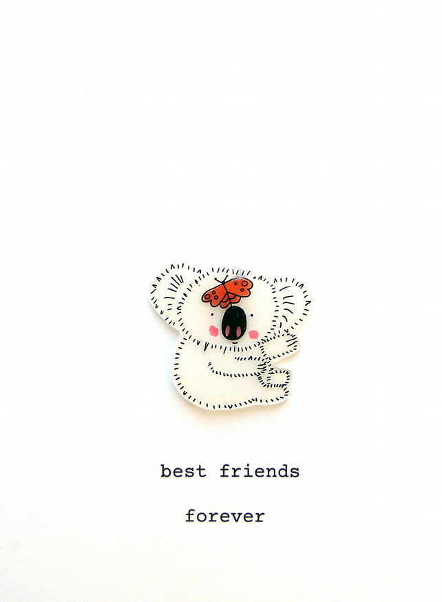 best friends card - koala and butterfly