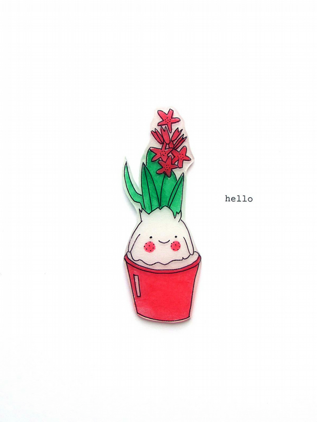 card  -  hello - happy hyacinth - pink flowers