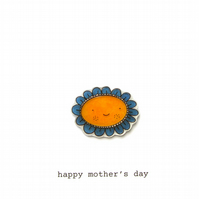 mother's day card - petals the happy flower (blue)