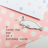 lucky dip box of four handmade birthday cards