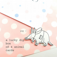 lucky dip box of four handmade animal cards