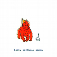 birthday card - party time for orangutan - personalised option