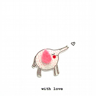 with love card - elephant and heart
