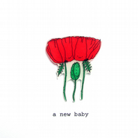 new baby card - poppy family