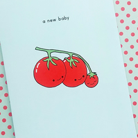 new baby card - tomato family