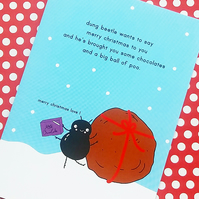 christmas card - dung beetle's christmas pressie