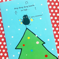 christmas card - ding dong dung beetle on high