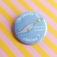 badge - narwhal's nibbles  - 38mm badge