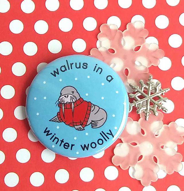 badge - walrus in a winter woolly - 38mm badge