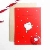 christmas card and badge pack - celebrate like a skate