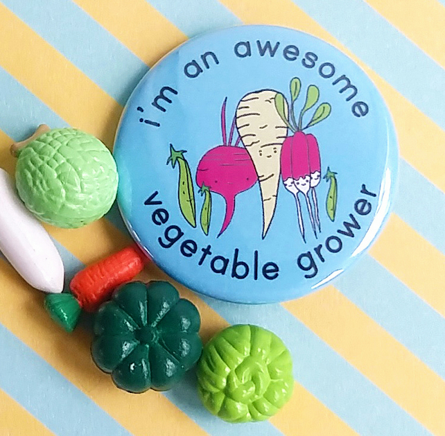 badge - i'm an awesome vegetable grower  - 38mm badge