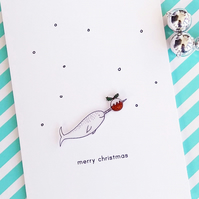christmas card - narwhal and christmas pudding