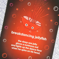 postcard - breakdancing jellyfish - a6 postcard