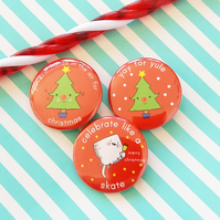 badge set - chrismas badges - 38mm badges
