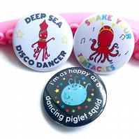 badge set - disco sea creatures - 38mm badges