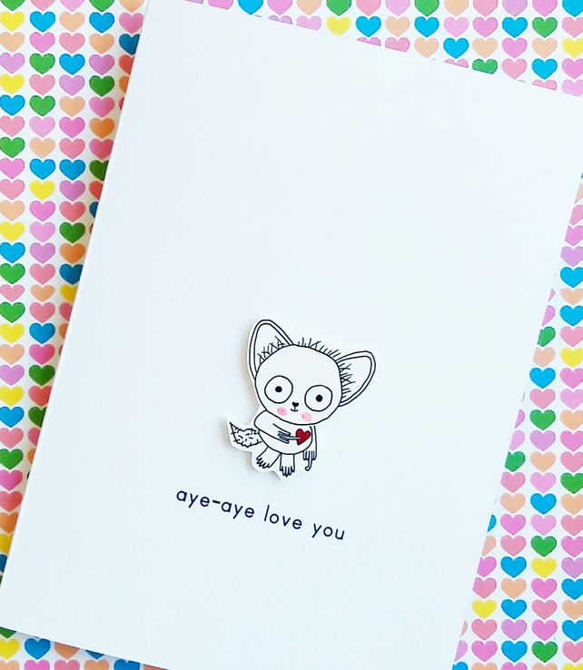 valentine's day card - aye-aye love you - hand on heart