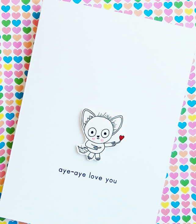 valentine's day card - aye-aye love you - handmade card - love card