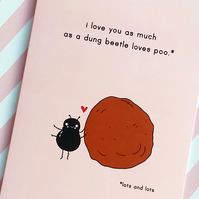 valentine's day card - roses are red - dung beetle