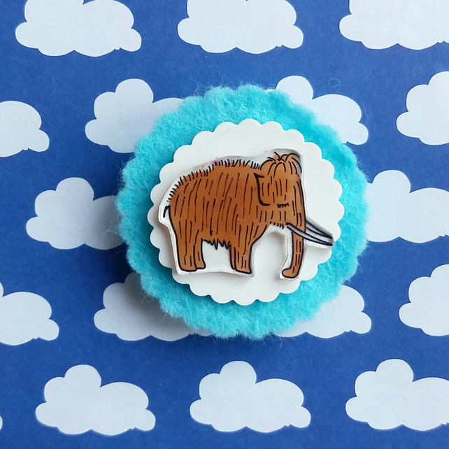 brooch  - martin the mini mammoth - hand painted brooch pin