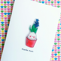 mother's day card - blue hyacinth plant