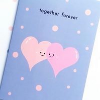 love card - together forever - happy hearts