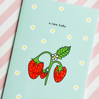 card - a new baby - strawberry family