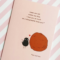valentine's day card - roses are red - dung beetle - love card