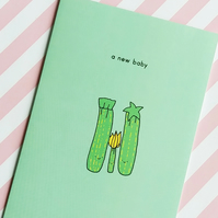 new baby card - courgette family