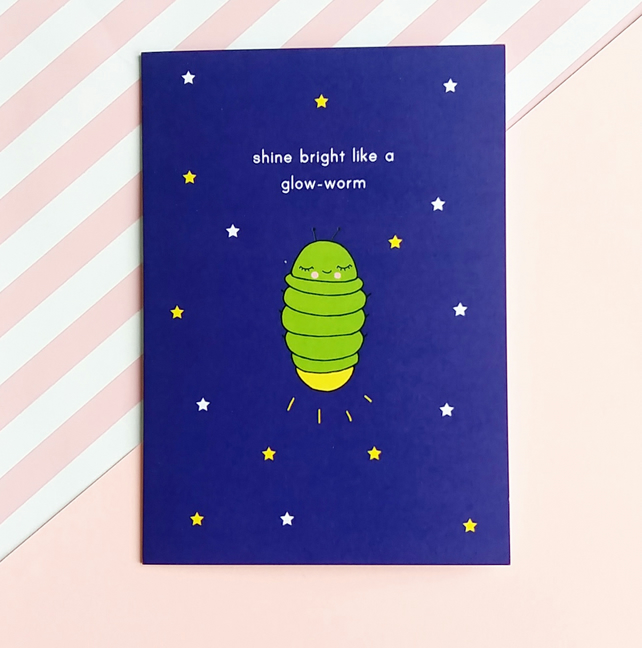 motivational card - shine bright like a glow-worm