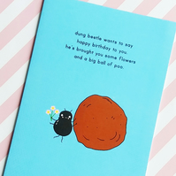 birthday card - dung beetle's birthday gift