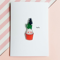 hello card - blue hyacinth plant - handmade card