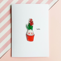 hello card - pink hyacinth plant - handmade card